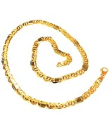 "SOLID 18K YELLOW GOLD CHAIN BIG TIGER EYE ALTERNATE 3+1 FLAT LINKS 6mm, 20"" - $2,850.00"