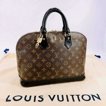Auth Louis Vuitton Alma Hand Bag Brown Leather PVC Zipper Monogram Logo LVB0434 - $715.77