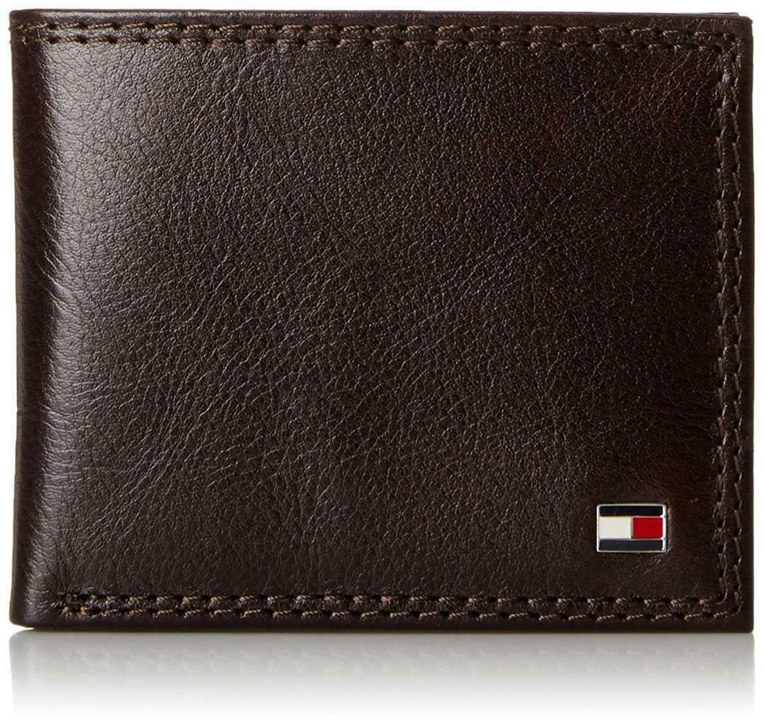 Tommy Hilfiger Men's Premium Leather Wallet Double Billfold Chocolate 31TL13X051