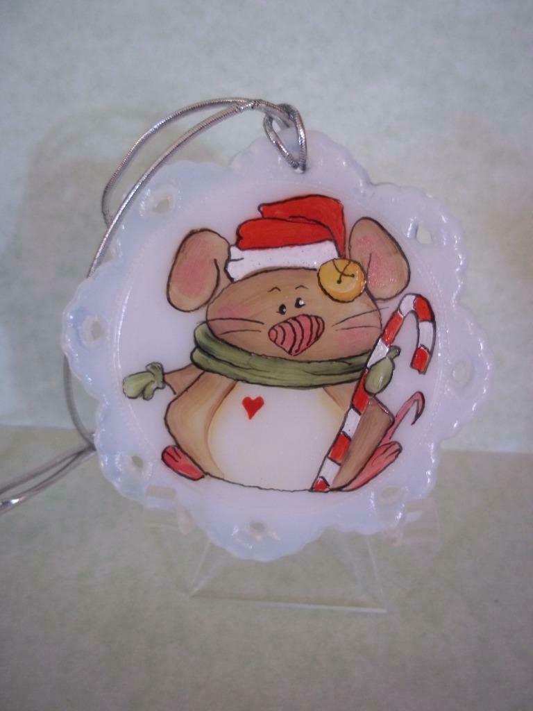 Fenton Glass Santa Mouse Christmas Ornament FAGCA Exclusive Ltd Ed of 19 Pieces