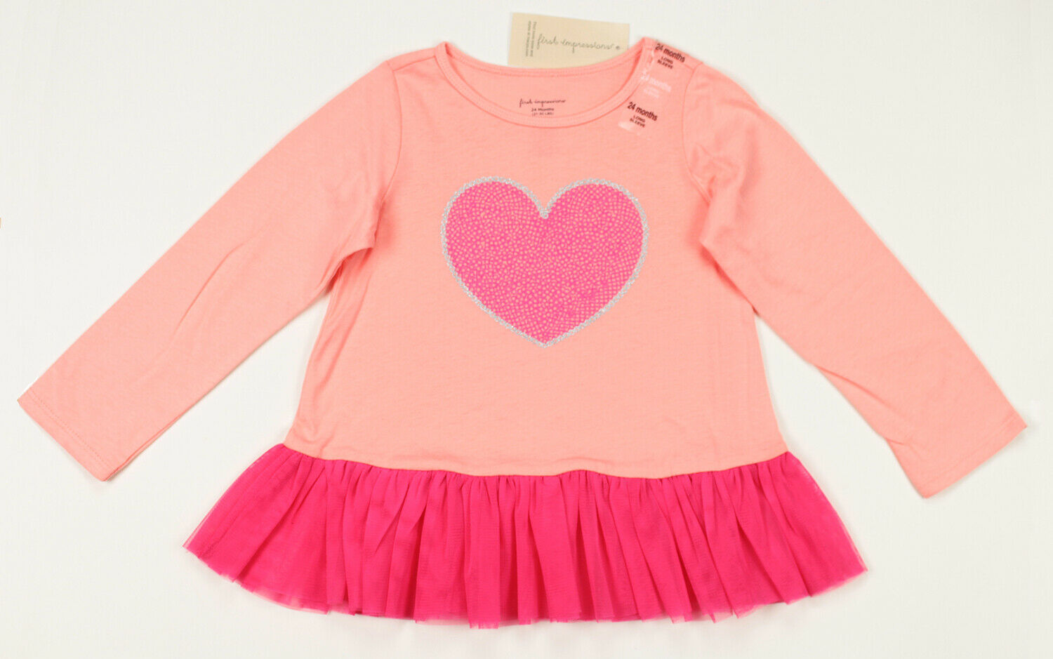 FIRST IMPRESSIONS NEW TODDLER GIRLS LONG SLEEVE COTTON PINK TULLE TUNIC 24M - $8.90