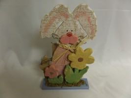 WOOD EASTER BUNNY TABLE DECOR HOLIDAY EGGS EASTER RABBIT - €8,06 EUR