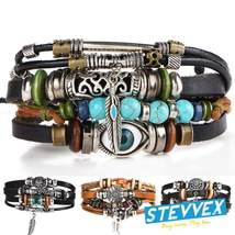 BOHO Tibet Stone Feather Multilayer Leather Bracelet Eye Fish Charms Beads  - $29.99