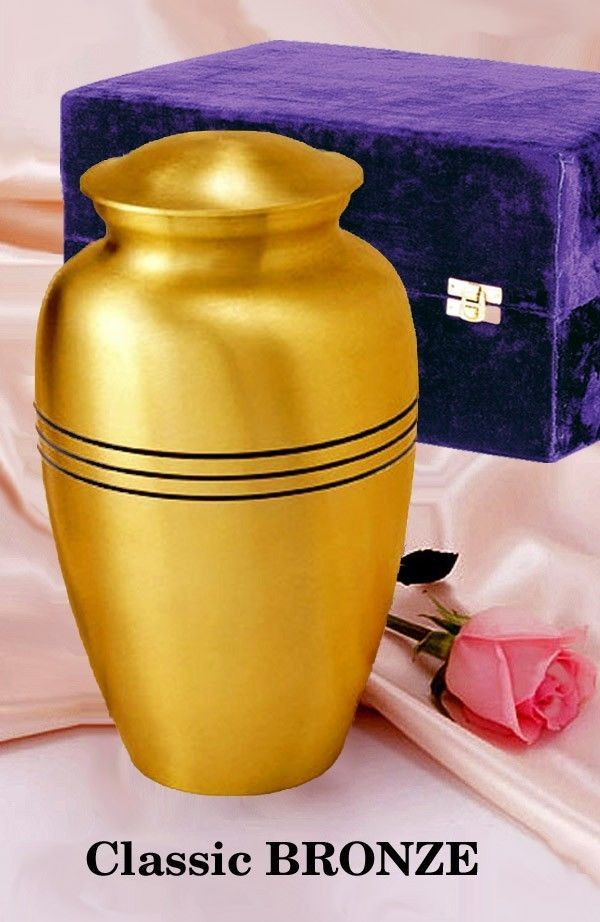 Adult Gold Colored, Brass Funeral Cremation Urn w. Box, Assorted Sizes Available image 4