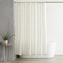 Natural Herringbone Light Striped Modern Farmhouse Fabric Shower Curtain - $39.00