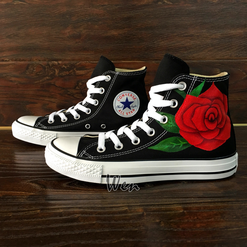 Floral Red Roses Converse Hand Painted High Top Sneakers Canvas Men Women Shoes