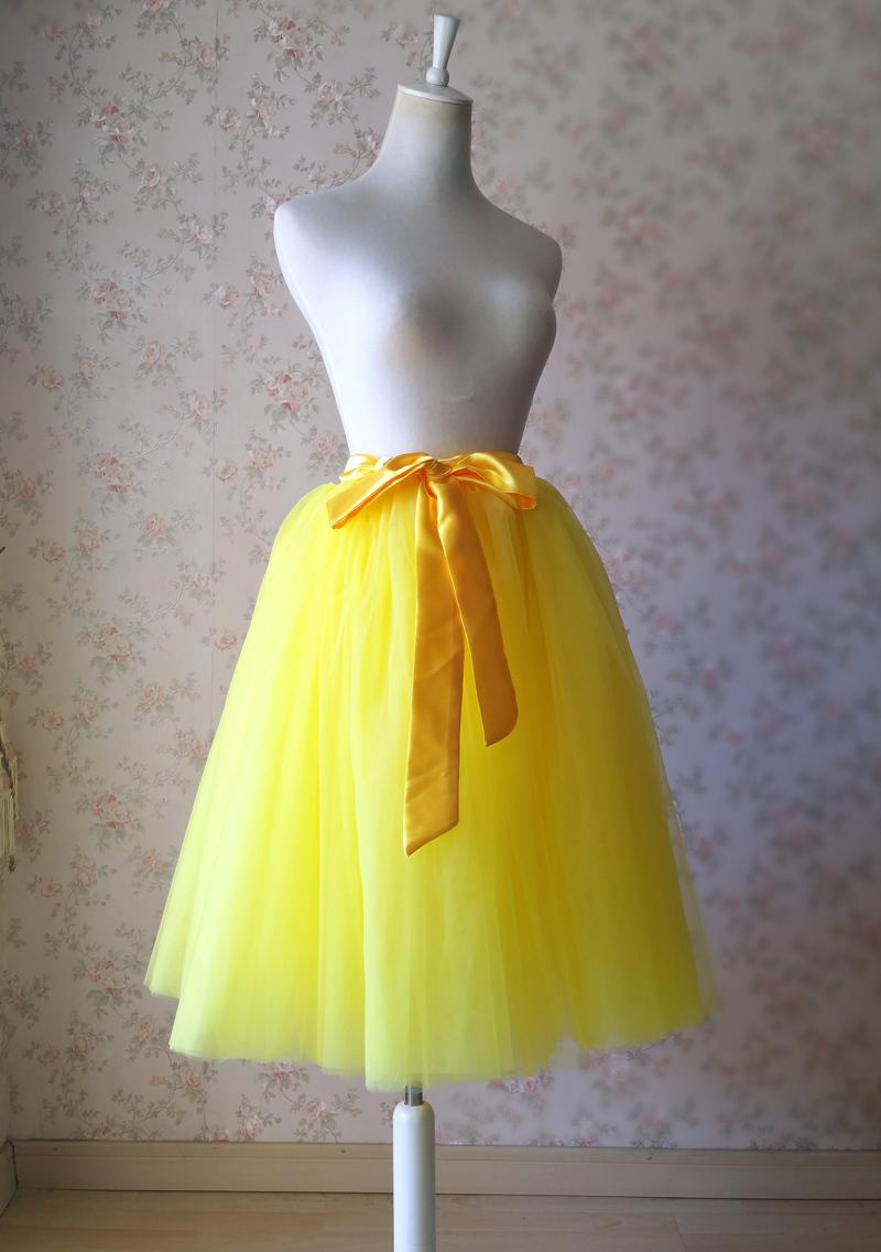 YELLOW Midi Tulle Skirt Yellow Wedding Bridesmaid Tulle Skirt 6-layer Tutu Skirt