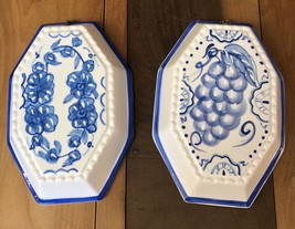 Lillian Vernon Molds 2 Hand Painted Blue White Decorated Ceramic Wall De... - $44.09