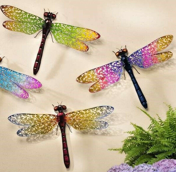 "24"" Wide Dragonfly Metal Wall Decor Expansive Wing Display Color Choices"
