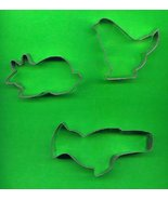 Lot of 3 Metal Cookie Cutters ck17 - $5.00