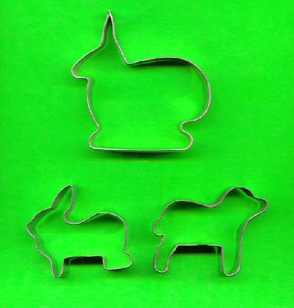 Lot of 3 Metal Animal Cookie Cutters ck18