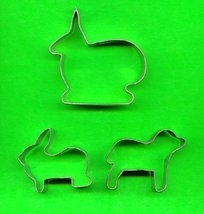 Lot of 3 Metal Animal Cookie Cutters ck18 - $5.00