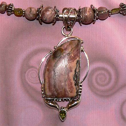 Sterling Silver Rhodochrosite and Peridot Necklace