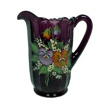 85326a water pitcher purple amethyst art glass pansy 40 oz hand painted new thumb200