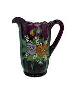 85326a water pitcher purple amethyst art glass pansy 40 oz hand painted new thumbtall