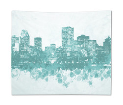 Wall Tapestry Wall Hanging Printed USA Design 89 Cityscape City aqua L.D... - $944,33 MXN+