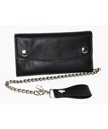 Tri-fold Wallet  w Checkbook Black Leather 7 In... - $39.99