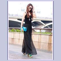 Long Sheer Chiffon Bohemian Gauze Pleated Harem Coulott Pants in Many Colors image 2