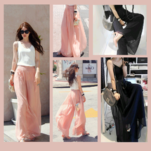 Long Sheer Chiffon Bohemian Gauze Pleated Harem Coulott Pants in Many Colors image 3