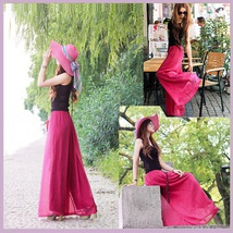 Long Sheer Chiffon Bohemian Gauze Pleated Harem Coulott Pants in Many Colors image 4