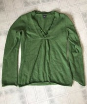 Ann Taylor Size Medium Sweater Green Wool Rabbit Hair Blend V-Neck Very Soft! - $25.92