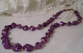 Vintage Unique Large Purple Bead Strung Necklace Gold Tone Spacers - $9.99