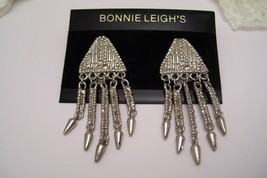 Vintage Silver Tone Dangle Pierced Earrings Western Style Chandelier - $14.99