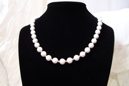 "Vintage Monet White Bead & Gold Tone Necklace 18"" - $19.99"