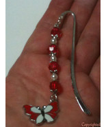 Smooth Silver Tone Bookmark with Dangling Red & White Beads,Red/White Bu... - $6.49