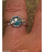 Lab CREATED Teal Color Cats Eye ESTATE Dolphin ... - $33.00