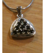 .925 Sterling Silver Natural Onyx Cluster Pendant with Snake Design Neck... - $59.00