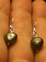 925 Sterling Silver PETITE Handmade Natural Pyrite Heart Dangle Earrings - $9.99