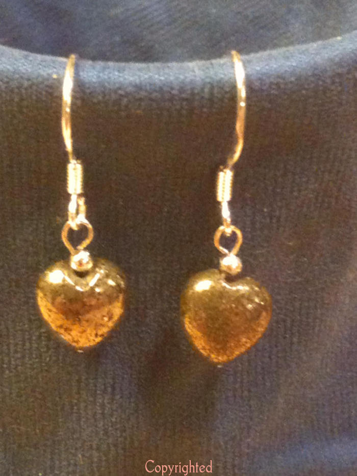 925 Sterling Silver PETITE Handmade Natural Pyrite Heart Dangle Earrings