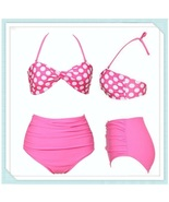 Pink Polka Dot Retro 60's Stlye High Waist 2 Pc Bathing Suit W/ Cup Bra ... - $54.95