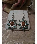 Turquoise Coral Mother of Pearl MOP Polished Wood Dangle Earrings .925 S... - $41.00