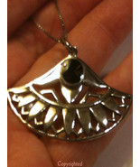 925 Silver Aztec-Like Design Estate Natural Bla... - $59.00