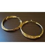 Chic Large Gold Hoop Pierced Earrings Beautiful & New #D440 - $10.99