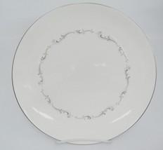 "Royal Doulton Coronet Dinner Plate 10.25"" White w Gray Scroll Silver Band - $8.90"