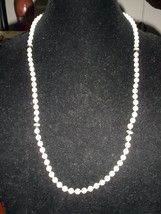 VTG Faux Plastic Pearl with Black Beaded Rhinestone Accent Necklace - $5.94
