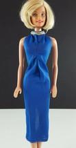 Barbie Clone Blue Nylon Halter Gown 1970s Clothing - $9.89