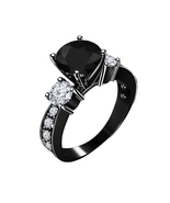 Black Rhodium Over 925 Sterling Silver Black & White CZ 3 Stone Engagement Ring  - $62.86