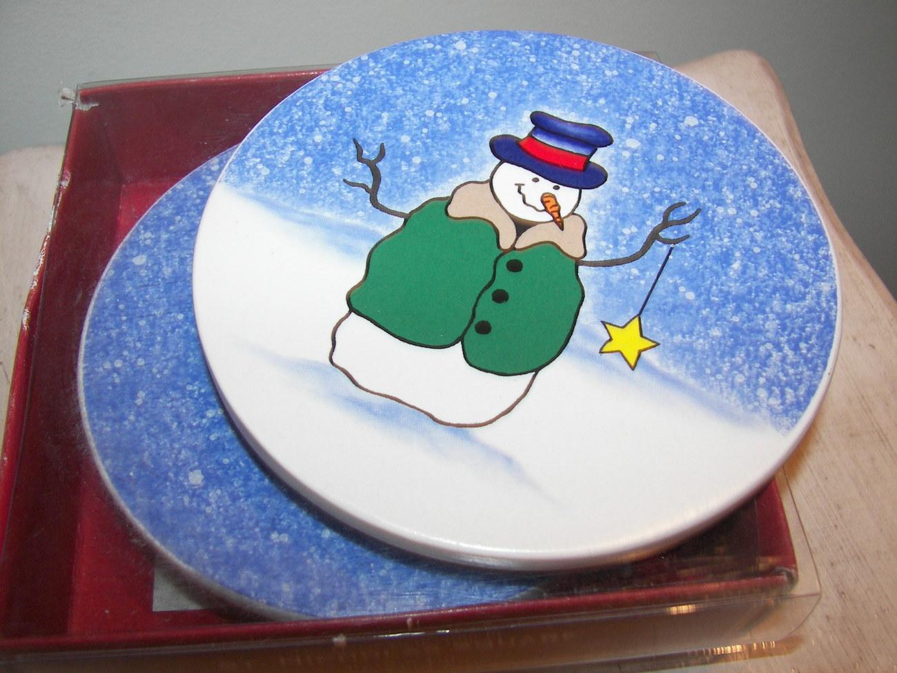 Christmas Porcelain set of Coasters Winter Scene Set of Four