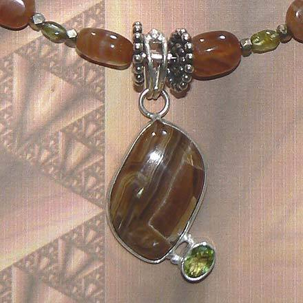 Silver Rootbeer Rhodochrosite and Peridot Necklace