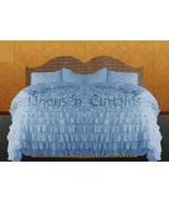 LinensnCurtains Waterfall Ruffle BLUE Bedspread Set 3pc - $169.00+