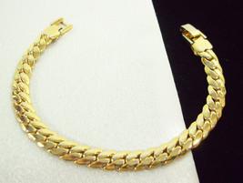 "Gold Plate SERPENTINE Chain Bracelet SNAKE Cuff Vintage Estate Career 7.5"" - $14.84"