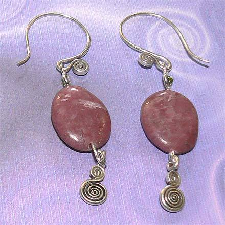 Sterling Silver Rhodonite and Peridot Earrings