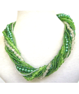 Vintage Carnival Givre Glass Bead Kelly Green P... - $39.00