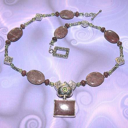 Sterling Silver Rhodonite and Peridot Necklace