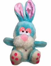 Vintage MTY International Blue Bunny Rabbit Plush Puppet Pink Satin Ears... - $56.05