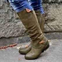 Women Vintage Mid-calf Boots Women's PU Leather Shoes Ladies Zip Female Fashi... - $40.71+